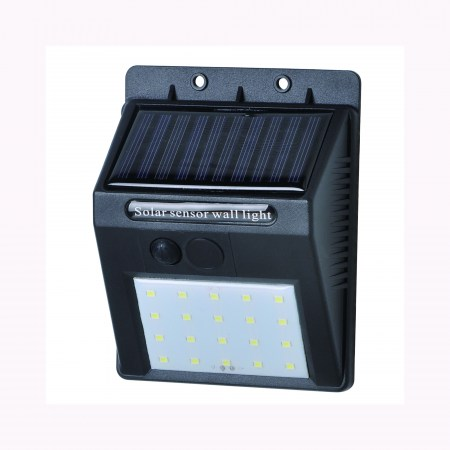 Solar powered LED wall light on,off